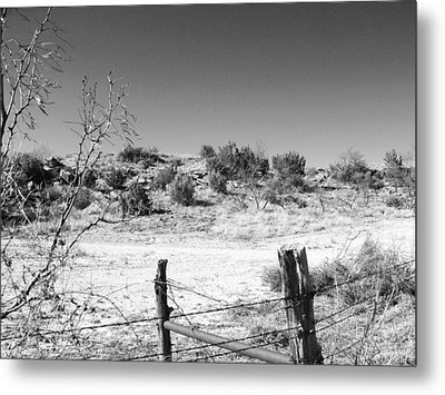 Ranch Fence And Redberry Junipers Two Metal Print