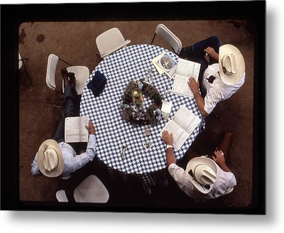 Ranchers At The Round Table Metal Print
