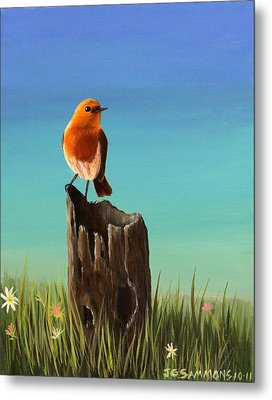 Randy The Robin Metal Print by Janet Greer Sammons