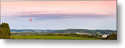 Raspberry Ripple Hot Air Balloon Over Presque Isle Metal Print by Aaron Priest