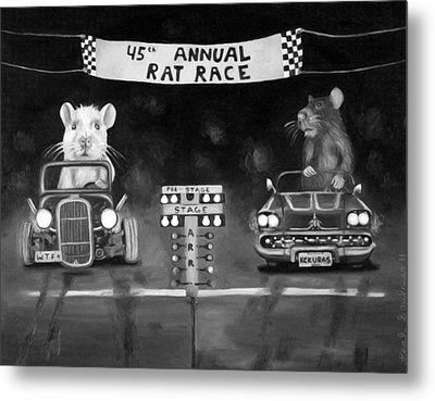 Rat Race Black And Wht Darker Tones Metal Print by Leah Saulnier The Painting Maniac