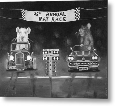 Rat Race In Black And White Metal Print by Leah Saulnier The Painting Maniac