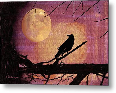 Raven And The October Moon Metal Print by Arline Wagner