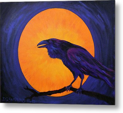 Metal Print featuring the painting Raven Moon by Janet Greer Sammons