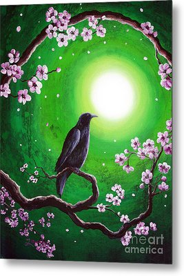 Raven On A Spring Night Metal Print by Laura Iverson