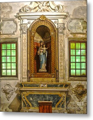 Ravenna Italy - Sant Apollinare Nuovo - Madonna And Child Metal Print by Gregory Dyer