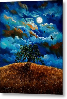 Ravens In A Moonlit Landscape Metal Print by Laura Iverson