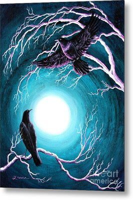 Ravens On A Winter Night Metal Print by Laura Iverson