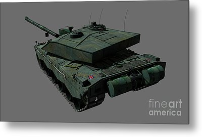 Rear View Of A British Challenger II Metal Print by Rhys Taylor
