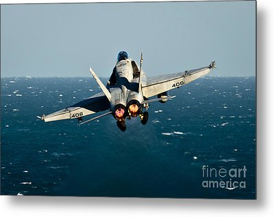 Rear View Of An Fa-18c Hornet Taking Metal Print by Stocktrek Images