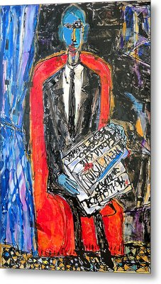 Recalling The Portrait Of An Unknown Man Reading A Newspaper Chevalier X By Andre Derain Metal Print by Eria Nsubuga