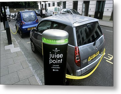 Recharging Electric Cars Metal Print by Martin Bond