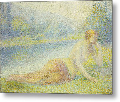 Reclining Nude Metal Print by Hippolyte Petitjean