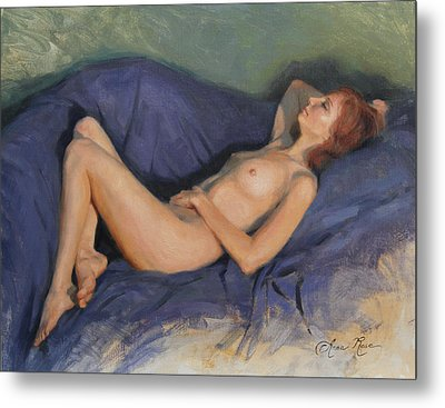 Reclining Nude On Blue Metal Print by Anna Rose Bain