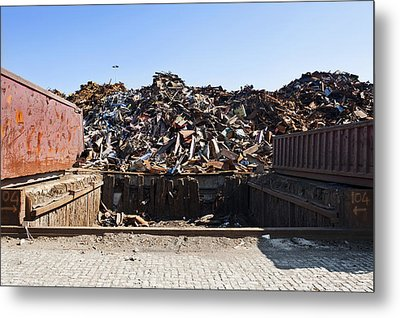 Recycle Dump Site Or Yard For Steel Metal Print by Corepics