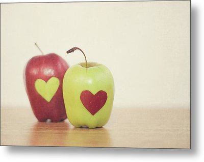 Red And Green Apple With Heart Shape Metal Print by Maria Kallin