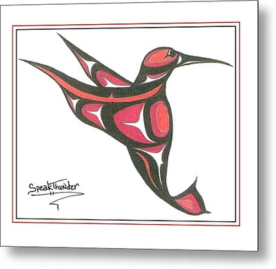 Red And Oj Humming Bird Metal Print by Speakthunder Berry