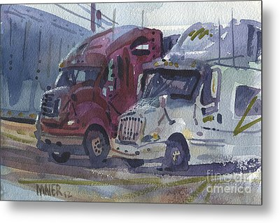 Red And White Trucks Metal Print