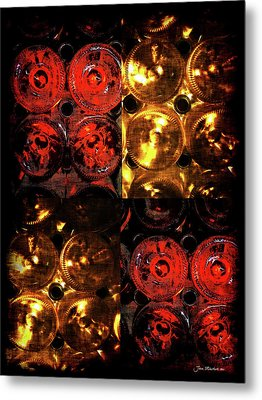 Red And White Wine Collage Metal Print by Joan  Minchak