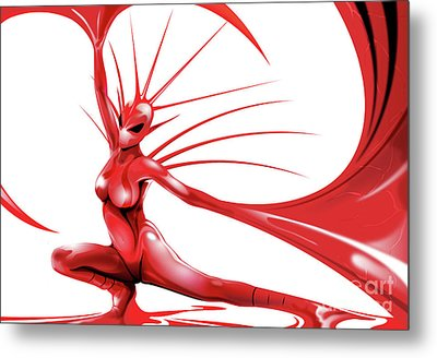 Metal Print featuring the drawing Red Angel by Brian Gibbs