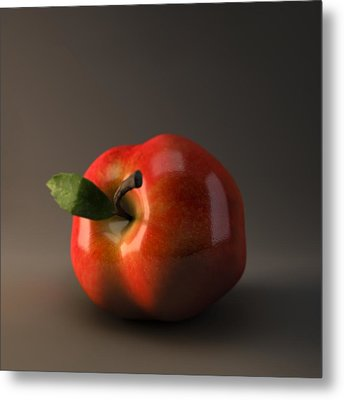 Red Apple Metal Print by BaloOm Animation Studios
