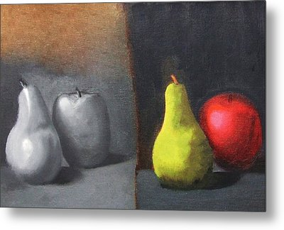 Red Apple Pears And Pepper In Color And Monochrome Black White Oil Food Kitchen Restaurant Chef Art Metal Print by M Zimmerman MendyZ