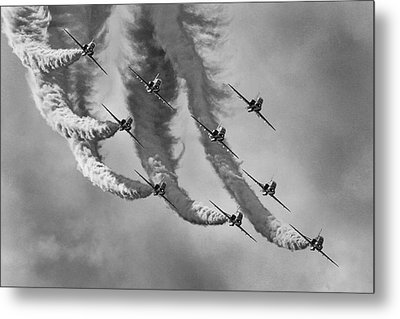 Red Arrows Black And White Metal Print
