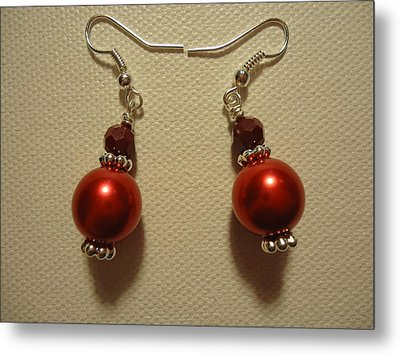 Red Ball Drop Earrings Metal Print