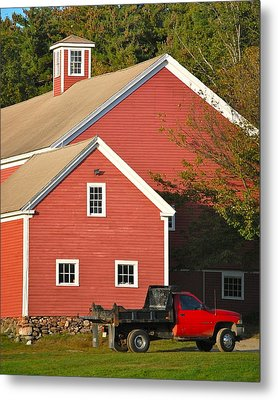 Red Barn - Red Truck Metal Print by Mary McAvoy