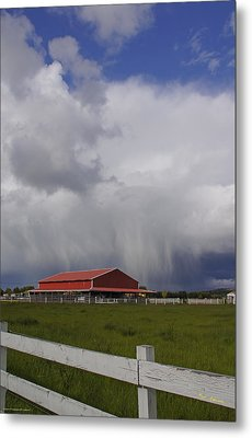 Red Barn And Stormy Sky Metal Print by Mick Anderson