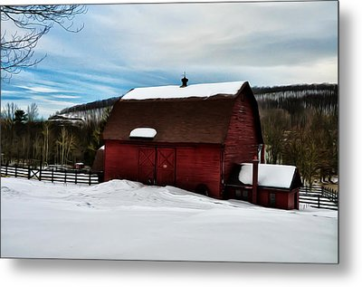Red Barn In The Snow Metal Print by Bill Cannon