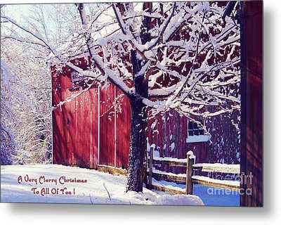 Red Barn In The Winter Connecticut Usa Metal Print by Sabine Jacobs