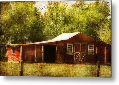 Metal Print featuring the photograph Red Barn by Joan Bertucci