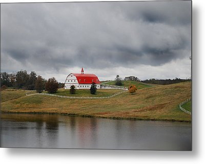 Red Barn Metal Print by Maggy Marsh