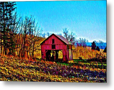 Red Barn On A Hillside Metal Print by Bill Cannon