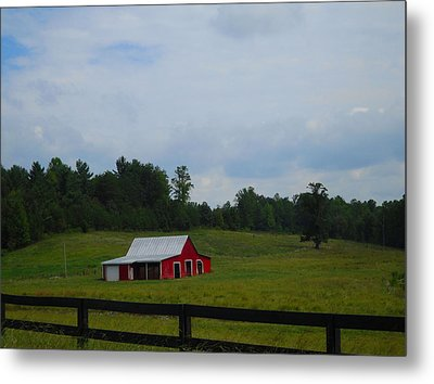 Red Barn Metal Print by Victoria Ashley