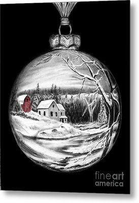Red Barn Winter Scene Ornament  Metal Print by Peter Piatt