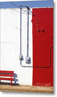 Red Bench White Wall Metal Print by Elena Nosyreva