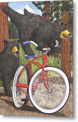 Red Bike Metal Print by Catherine G McElroy