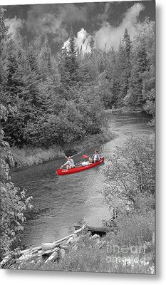 Red Canoe Metal Print by Jim Wright