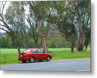 Red Car In The Countryside Metal Print