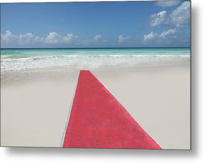 Red Carpet On A Beach Metal Print by Buena Vista Images