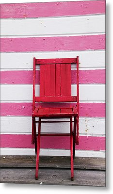 Red Chair And Pink Strips Metal Print by Garry Gay