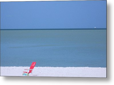Red Chair And Sailboat Metal Print by Bill Lucas
