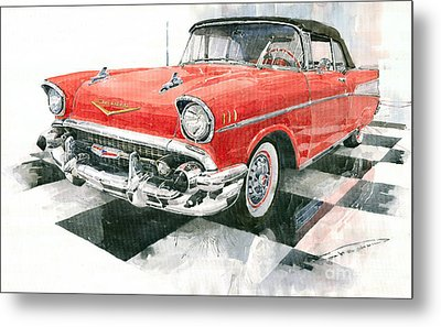 Red Chevrolet 1957 Metal Print by Yuriy  Shevchuk