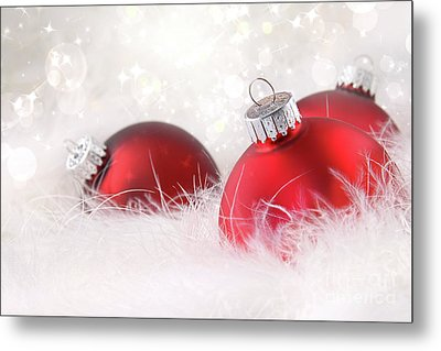 Red Christmas Balls In White Feathers  Metal Print by Sandra Cunningham