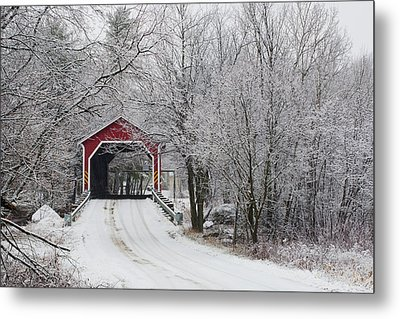 Red Covered Bridge In The Winter Metal Print by David Chapman