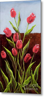 Red Delight-tulips Metal Print by Vic  Mastis
