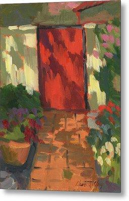 Red Door - Shadow And Light Metal Print