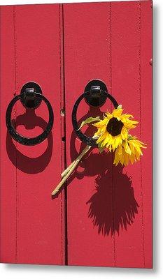 Red Door Sunflowers Metal Print by Garry Gay